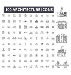architecture editable line icons 100 set vector image