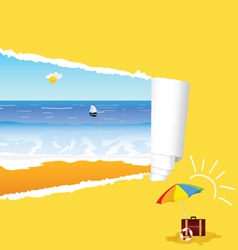 Beach with tearing paper vector