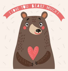 Bear cute card with love vector