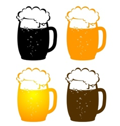 Beer mugs with bubbles vector