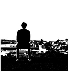 black and white silhouette man sitting alone vector image