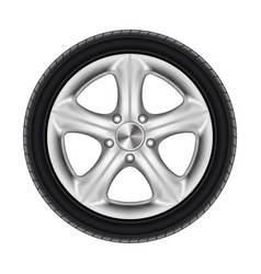 black rubber car wheel tyre tire with star disk vector image