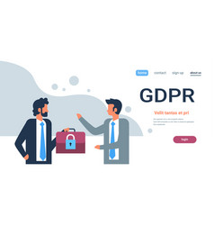 businessman hold case padlock security gdpr vector image