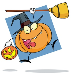 Cartoon Character Halloween Pumkin With A Broom vector