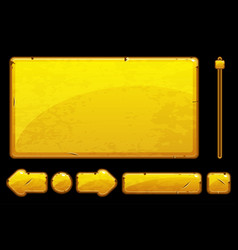 Cartoon old golden assets and buttons for ui game vector