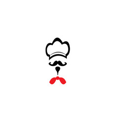chef cooker hat with mustache and red tie for vector image