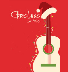 Christmas songs guitar and santa hat on red vector