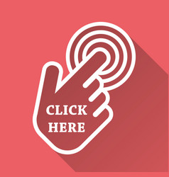 click here icon hand cursor signs pink buttons vector image