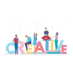 creative business team - flat design style vector image