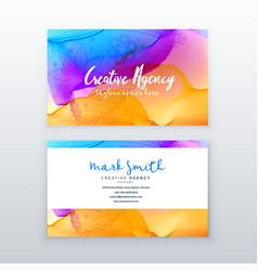 Creative watercolor business card design template vector