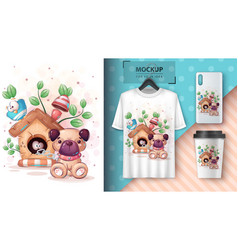 Cute house dog poster and merchandising vector