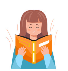 Cute woman reading a book educational concept vector
