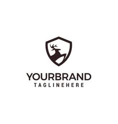 Deer shield logo template design vector