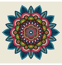 Doodle boho floral colored mandala vector