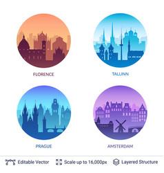 european famous city scapes set vector image