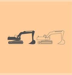excavator dark grey set icon vector image