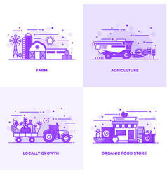 Flat line purple designed concepts 16 vector