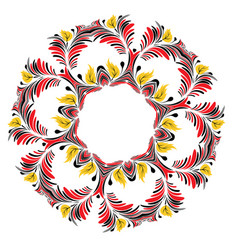 Floral black and red round ornament vector