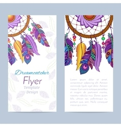 Flyer with hand drawn dreamcatcher and feathers vector