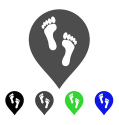 Footprints map marker flat icon vector