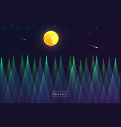 Forest at night landscape view abstract geometric vector