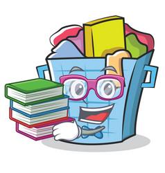 Geek laundry basket character cartoon vector
