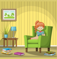 Girl reading books in living room vector