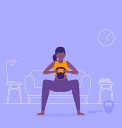 Girl training at home doing squat workout vector