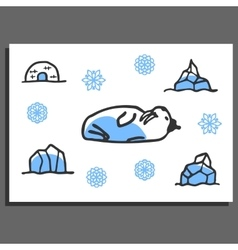 Greeting card template with cute doodle walrus vector image