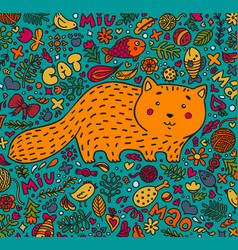hand-drawn a fat red cat surrounded vector image