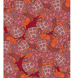 Hand-drawn seamless pattern with abstract houses vector