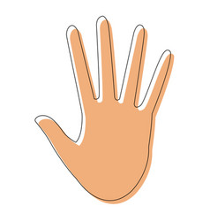 hand showing five finger waving gesture icon vector image