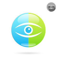 Human eye icon on medical round plate vector image