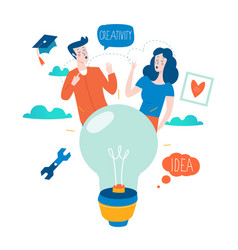 Idea education and thinking content development vector