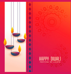 Indian diwali festival greeting with hanging diya vector