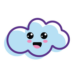 Kawaii happy cloud icon vector