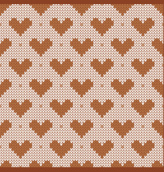 knitted seamless pattern with hearts vector image