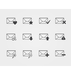 Line black Email icons set vector