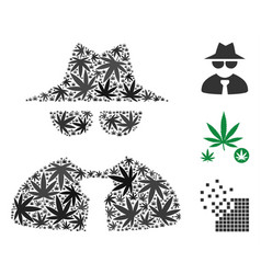 Mafia boss collage of weed leaves vector