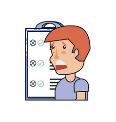 man sad with clipboard checklist isolated icon vector image
