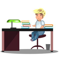 man sitting at a desk vector image