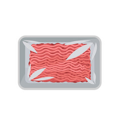 Minced meat in the package with transparent wrap vector