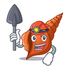Miner long shell mascot cartoon vector