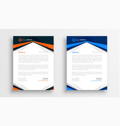 Modern company letterhead design template set of vector