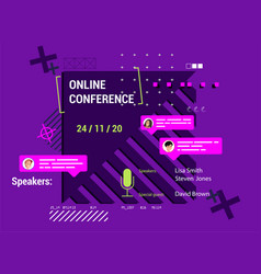 Modern poster online conference vector
