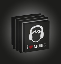 music cd boxes i love music vector image