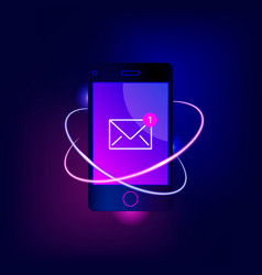 New email notification on mobile phone vector