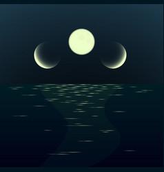 Night fantasy moonrise seascape gradient vector