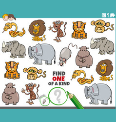 One a kind task for children with animals vector