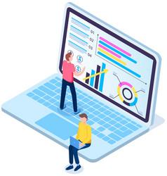 online learning concept man studies statistics vector image